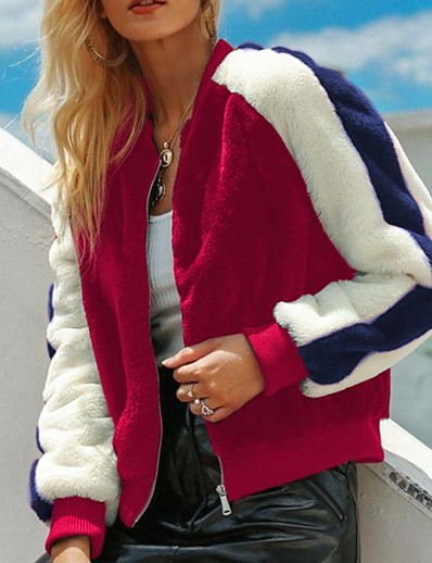 cheap Furs & Leathers-Women's Stand Collar Spring Faux Fur Coat Regular Color Block Daily Red Royal Blue S M L