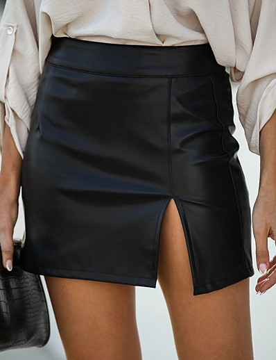cheap Bottoms-Women's Daily Wear Sexy Mini Bodycon Skirts Solid Colored Split