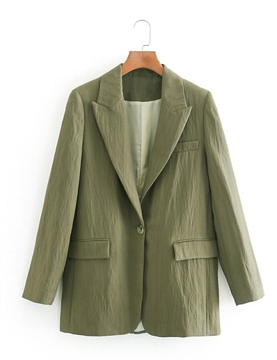 cheap Blazers-Women's Peaked Lapel Blazer Solid Colored Green XS / S / M