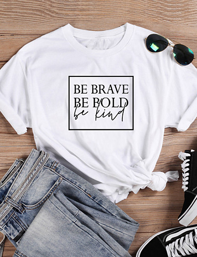 cheap Tees & T Shirts-Women's T-shirt Graphic Prints Letter Print Round Neck Tops Slim 100% Cotton Basic Summer All Seasons Wine White Black