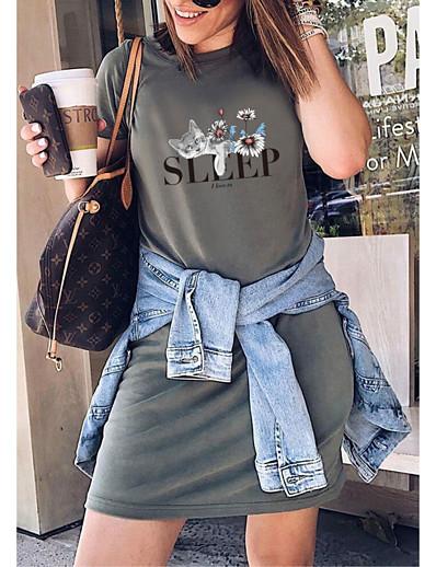 cheap DRESSES-Women's T Shirt Dress Tee Dress Short Mini Dress - Short Sleeve Animal Print Summer Casual Daily 2020 White Black Blue Purple Red Army Green Lavender Brown Gray S M L XL XXL XXXL XXXXL XXXXXL