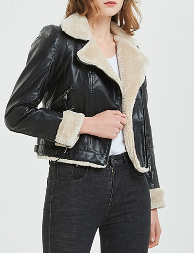 cheap Furs & Leathers-Women's Jacket Short Solid Colored Daily Black S M L / Slim