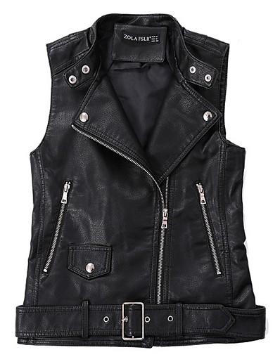 cheap Jackets-Women's Vest Daily Regular Solid Colored White / Black S / M / L