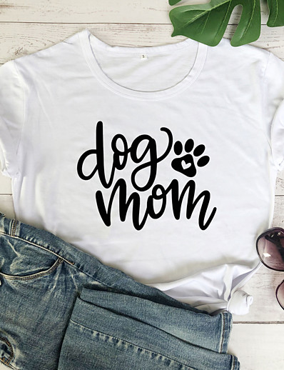 cheap Tees & T Shirts-Women's T-shirt Graphic Prints Letter Print Round Neck Tops 100% Cotton Basic Summer All Seasons Wine White Black