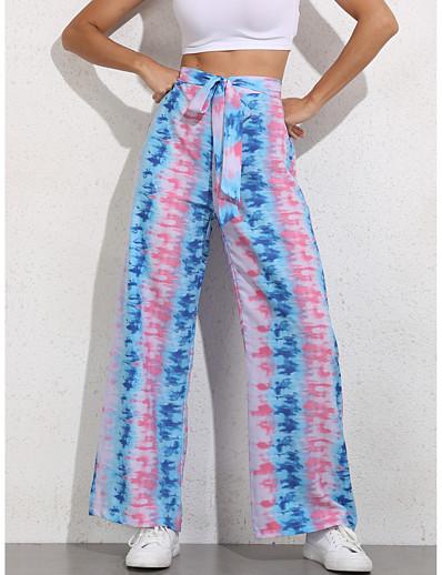 abordables Bas-Femme basique Ample Quotidien Chino Pantalon Teinture par Nouage Taille haute Violet
