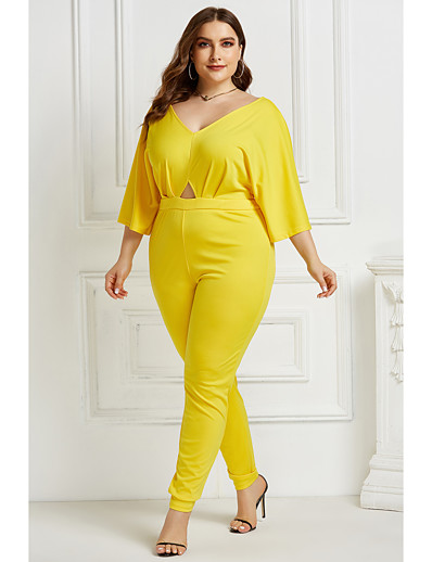 cheap Plus Size Jumpsuits-Women's Plus Size Black Yellow Green Loose Jumpsuit Solid Colored Cut Out