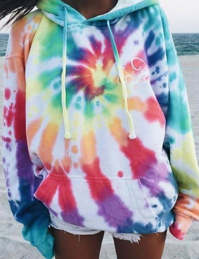 cheap Hoodies & Sweatshirts-Women's Pullover Hoodie Sweatshirt Tie Dye Basic Hoodies Sweatshirts  Loose Rainbow