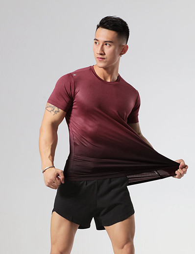 cheap Running, Jogging & Walking-Men's Workout Tops Running Shirt Tee Tshirt Top Athleisure Summer Elastane Reflective Quick Dry Breathable Fitness Gym Workout Running Active Training Jogging Sportswear Color Gradient Burgundy Grey