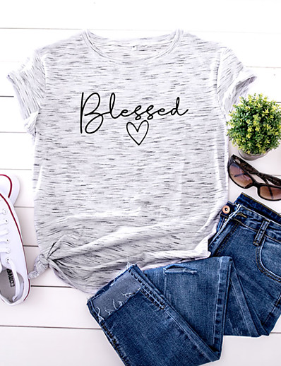 cheap Tees & T Shirts-Women's T shirt Graphic Text Letter Print Round Neck Basic Tops 100% Cotton White Yellow Blushing Pink