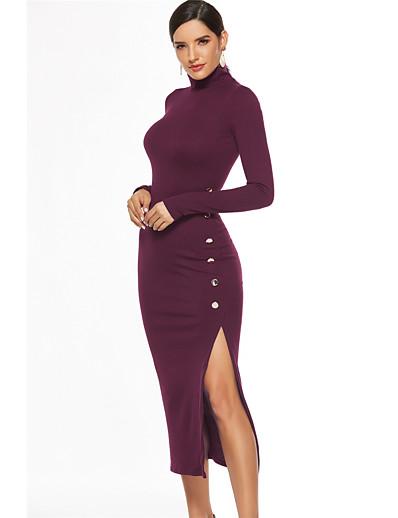 cheap Bodycon Dresses-Women's Sheath Dress Midi Dress - Long Sleeve Solid Color Split Fall Sexy 2020 Wine Black Blue S M L XL XXL XXXL XXXXL XXXXXL