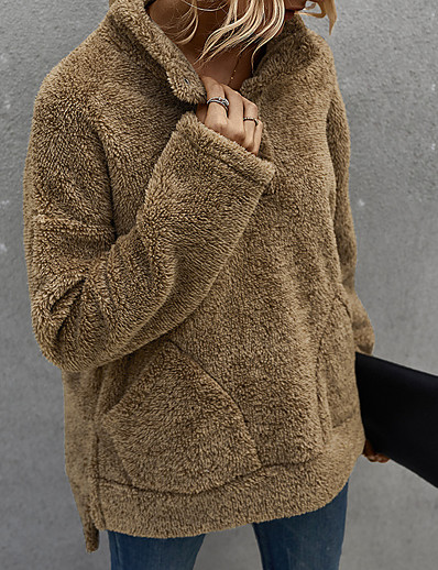 cheap Furs & Leathers-Women's Daily Pullover Sweatshirt Solid Colored Basic Hoodies Sweatshirts  Army Green Brown Beige