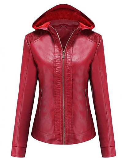 cheap Jackets-Women's Leather Jacket Daily Punk & Gothic Short Solid Colored Black / Red / Camel XS / S / M