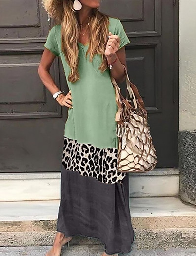 cheap NEW IN-Women's Shift Dress Maxi long Dress - Short Sleeves Leopard Color Block Summer V Neck Casual Vacation Holiday 2020 Black Orange Green Gray S M L XL XXL XXXL XXXXL XXXXXL