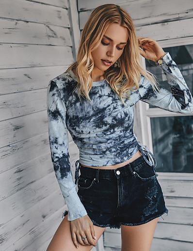 cheap Sweaters & Cardigans-Women's Blouse Shirt Tie Dye Long Sleeve Drawstring Round Neck Tops Slim Cotton Basic Basic Top Beige Gray