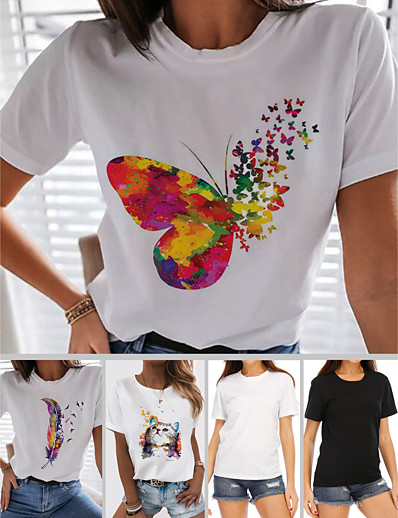 cheap Tees & T Shirts-Women's T-shirt Rainbow Butterfly Heart Print Round Neck Tops 100% Cotton Basic Basic Top Butterfly White Black