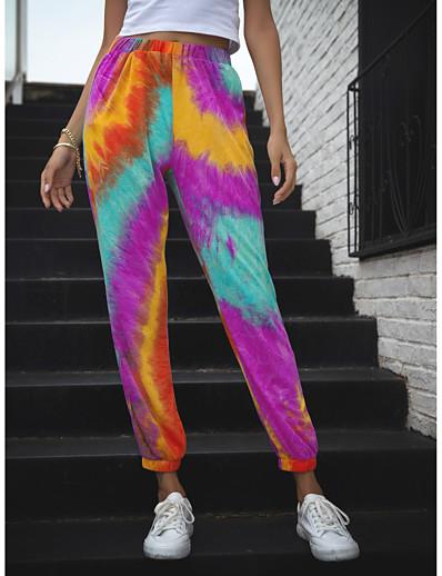 cheap Bottoms-Women's Loose Chinos Pants Tie Dye Purple Yellow Orange