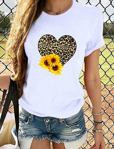 cheap Tees & T Shirts-Women's T-shirt Graphic Prints Round Neck Tops Slim 100% Cotton White
