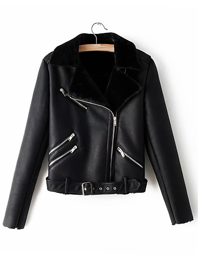 cheap Furs & Leathers-Women's Notch lapel collar Jacket Regular Solid Colored Daily Black S M L