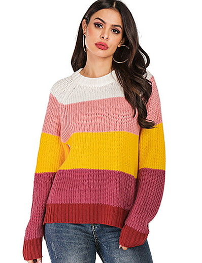 cheap 07/29/2020-Women's Striped Pullover Long Sleeve Loose Sweater Cardigans Boat Neck Fall Blushing Pink Green