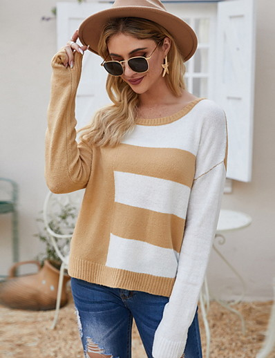 cheap Sweaters & Cardigans-Women's Color Block Pullover Cotton Long Sleeve Loose Sweater Cardigans Deep U Fall White