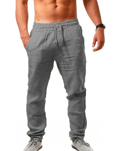 cheap Men-Men's Sporty Outdoor Sports Slim Daily Holiday Sweatpants Pants Solid Colored Full Length Drawstring Blue Light Brown Gray Khaki Green / Fall / Spring