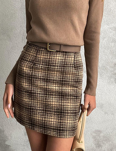cheap Bottoms-Women's A Line Skirts - Geometric Brown S M L