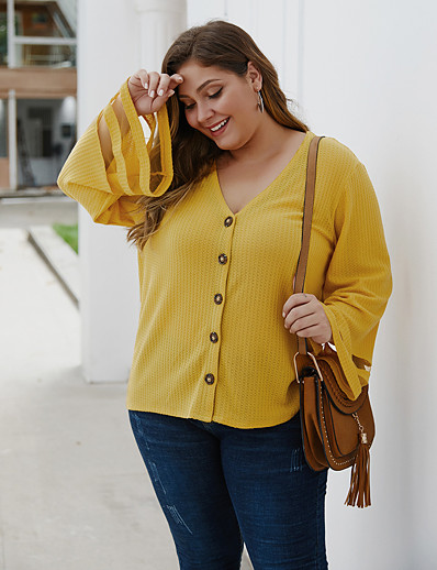 cheap Plus Size Tops-Women's Plus Size Blouse Shirt Solid Colored Long Sleeve Cut Out V Neck Tops Basic Basic Top Black Yellow Gray