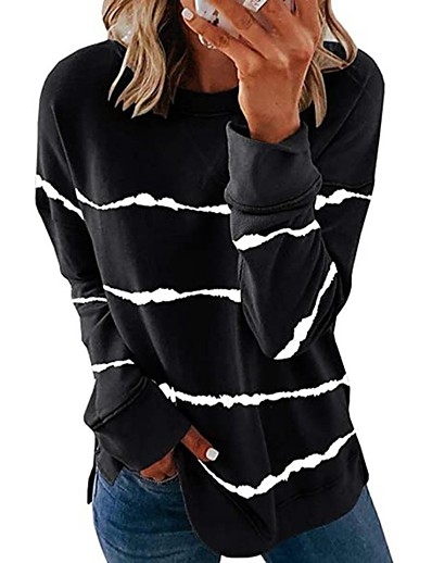 cheap Hoodies & Sweatshirts-Women's Blouse Shirt Solid Colored Plain Long Sleeve Round Neck Tops Loose Basic Top White Black Blue