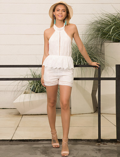 cheap Jumpsuits & Rompers-Women's Crew Neck White Romper Color Block Solid Colored Lace up