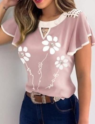 cheap Tees & T Shirts-Women's T-shirt Graphic Prints Print Round Neck Tops Basic Basic Top Blue Purple Blushing Pink