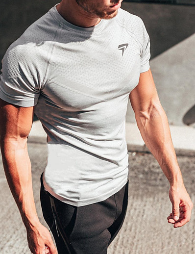 cheap Running, Jogging & Walking-Men's Short Sleeve Workout Tops Running Shirt Tee Tshirt Top Athletic Athleisure Summer Quick Dry Breathable Soft Fitness Gym Workout Performance Running Training Sportswear White Black Activewear
