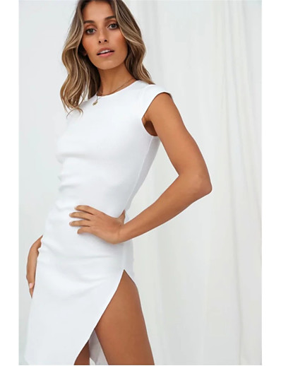 cheap Bodycon Dresses-Women's Sheath Dress Knee Length Dress - Short Sleeve Solid Color Split Summer Sexy Daily Weekend 2020 White Black One-Size