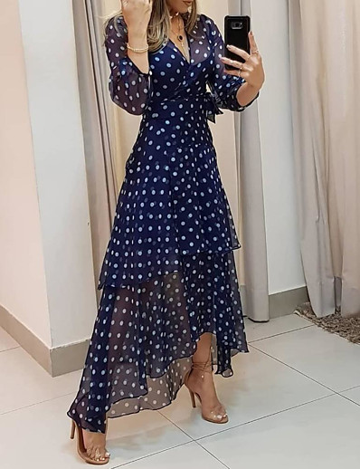 cheap DRESSES-Women's Maxi long Dress - 3/4 Length Sleeve Polka Dot Print Summer V Neck Casual Daily Chiffon 2020 Navy Blue M L XL XXL XXXL