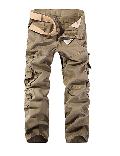 cheap Men's Bottoms-Men's Basic Cotton Loose Daily Tactical Cargo Pants Solid Colored Full Length Patchwork Black Army Green Khaki / Spring / Fall