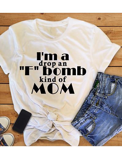cheap TOPS-Women's Mom T-shirt Graphic Prints Letter Print Round Neck Tops Slim 100% Cotton Basic Basic Top White