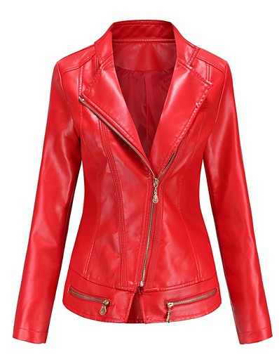 cheap OUTERWEAR-Women's Notch lapel collar Faux Leather Jacket Regular Solid Colored Daily Black Red Green Beige S M L XL
