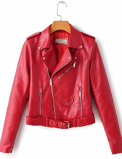 cheap STREET CHIC-Women's Winter Faux Leather Jacket Short Solid Colored Daily Red Beige S M L