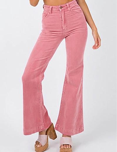 cheap Bottoms-Women's Basic Loose Chinos Pants Solid Colored Blushing Pink Khaki Light Blue