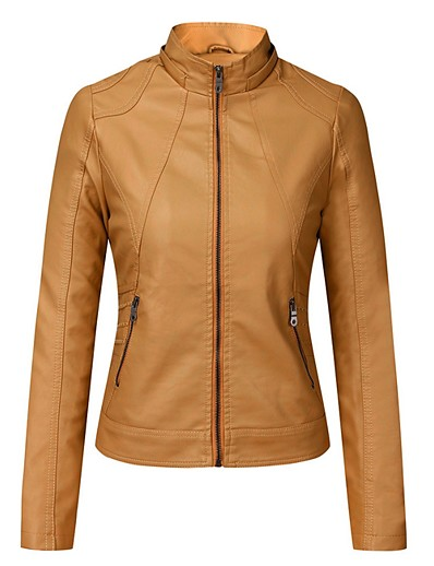 cheap Outerwear-Women's Faux Leather Jacket Solid Colored Spring &  Fall Regular Daily Long Sleeve PU Coat Tops Yellow