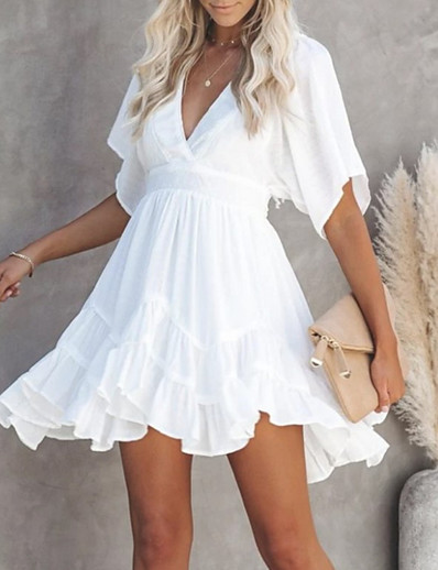 cheap Boho Dresses-Women's Swing Dress Short Mini Dress White Green Short Sleeve Summer V Neck Hot Casual 2021 S M L XL XXL 3XL