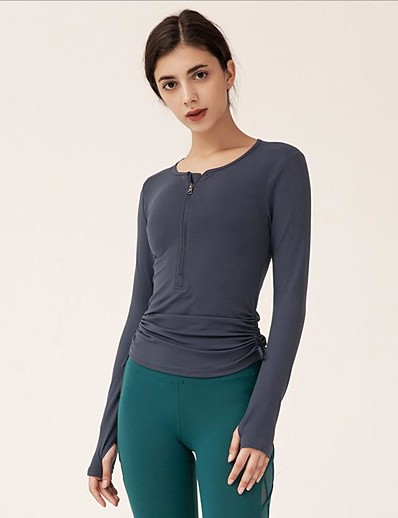 cheap Tops-Women's Blouse Solid Colored Drawstring Round Neck Tops Slim Basic White Black Purple