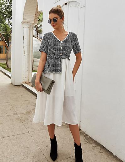 cheap 07/31/2020-Women's Sheath Dress Midi Dress - Short Sleeve Color Block Patchwork Spring Summer Casual Daily 2020 White Black S M L XL