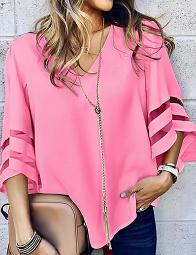 cheap Blouses & Shirts-Women's Blouse Shirt Solid Colored Long Sleeve V Neck Tops Basic Top White Black Blue