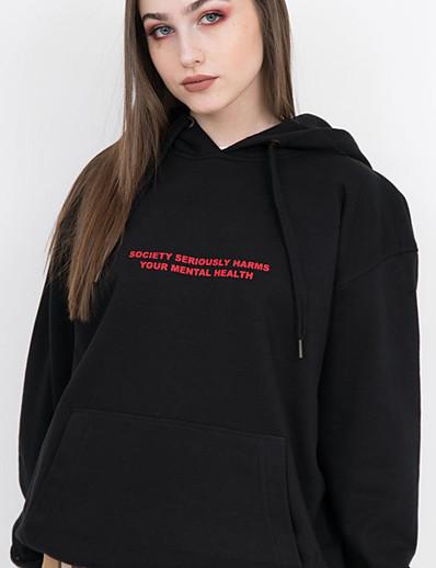abordables Sweats à capuche & sweat-shirts-Femme Sweatshirt Graphique Lettre Simple Basique Pulls Capuche Pulls molletonnés Coton Mince Blanche Noir Jaune