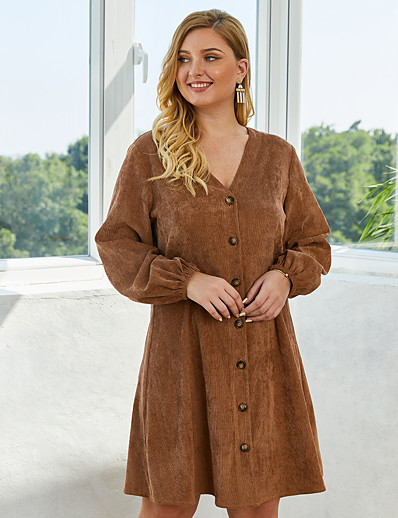 cheap Plus Size Dresses-Women's Sheath Dress Knee Length Dress - Long Sleeve Solid Color Spring V Neck Casual 2020 Army Green Royal Blue Brown XL XXL XXXL XXXXL