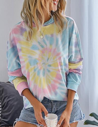 abordables Sweats à capuche & sweat-shirts-Femme Sweat à capuche Teinture par Nouage Simple Pulls Capuche Pulls molletonnés Ample Bleu Violet Jaune