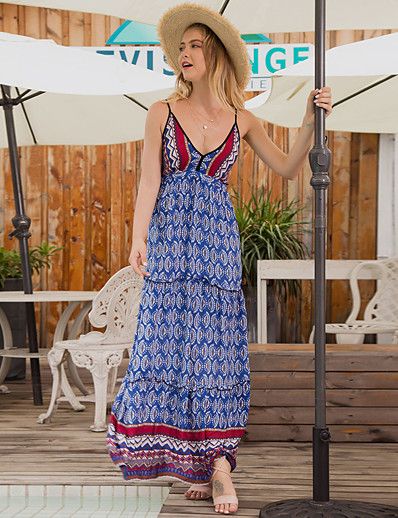 cheap Vintage Dresses-Women's Sundress Maxi long Dress - Sleeveless Geometric Summer Vintage Boho 2020 Navy Blue S M L XL
