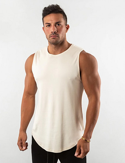 cheap Running, Jogging & Walking-Men's Sleeveless Running Tank Top Singlet Top Athleisure Summer Cotton Breathable Soft Sweat Out Fitness Gym Workout Performance Running Training Sportswear Solid Colored Normal White Black Red