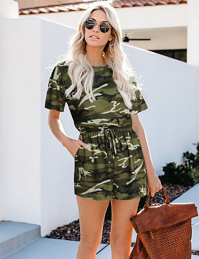 cheap Jumpsuits & Rompers-Women's Blue Army Green Green Romper Color Block Camo / Camouflage