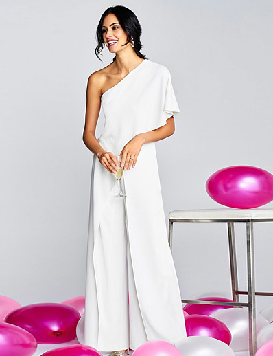 cheap Jumpsuits & Rompers-Women's Ordinary One Shoulder White Black Blushing Pink Jumpsuit Solid Colored / Wide Leg